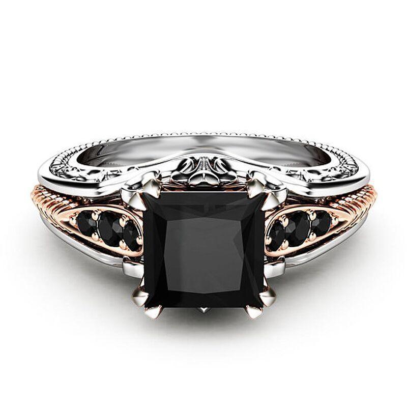 Fashion Women 925 Silver Rings Black Sapphire Jewelry Wedding Rings Size 6 10 Ebay B Black Diamond Princess Ring Black Sapphire Jewelry Silver Wedding Rings