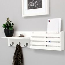 Sydney Wall Shelf And Mail Holder With 3 Metal Hooks