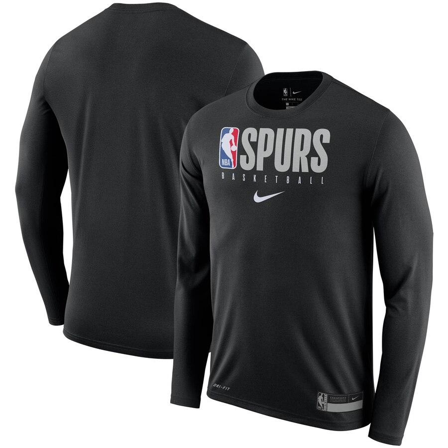 San Antonio Spurs Nike Practice Legend Performance Long Sleeve T Shirt Black In 2020 Long Sleeve Tshirt Men Black Shirt Shirts [ 900 x 900 Pixel ]