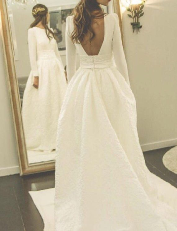 Ivory Embossed Wedding Gown Quilt Wedding Dress Long Sleeves Bridal Gown Winter Wedding Dr Winter Wedding Dress Wedding Dress Long Sleeve Wedding Dresses