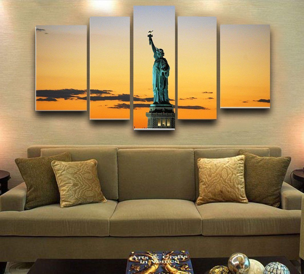 Wall Art Painting Statue Of Liberty In The Sunset Prints On Canvas