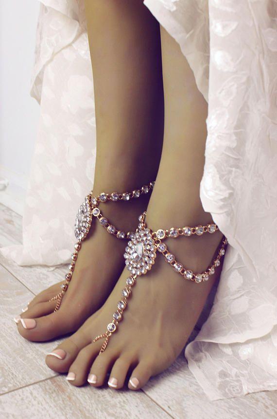 Serena Gold Barefoot Sandals Rhinestone Anklet Beach Wedding Sandals