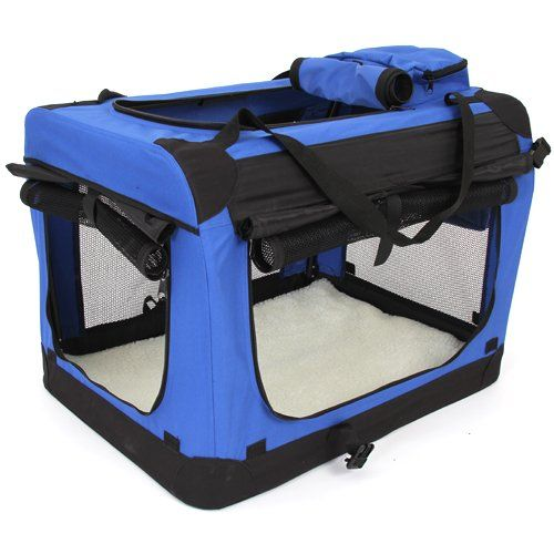 Amzdeal Fabric Dog Carrier Soft Sided Pet Carrier Dog Crate Foldable Pet Carrier Portable Pet Home Middle Large Pet Supplies Home Sweet Home For Pet Home Blue B