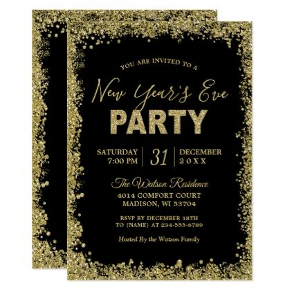 gold glitters border typography new years party card script gifts template templates diy customize personalize special