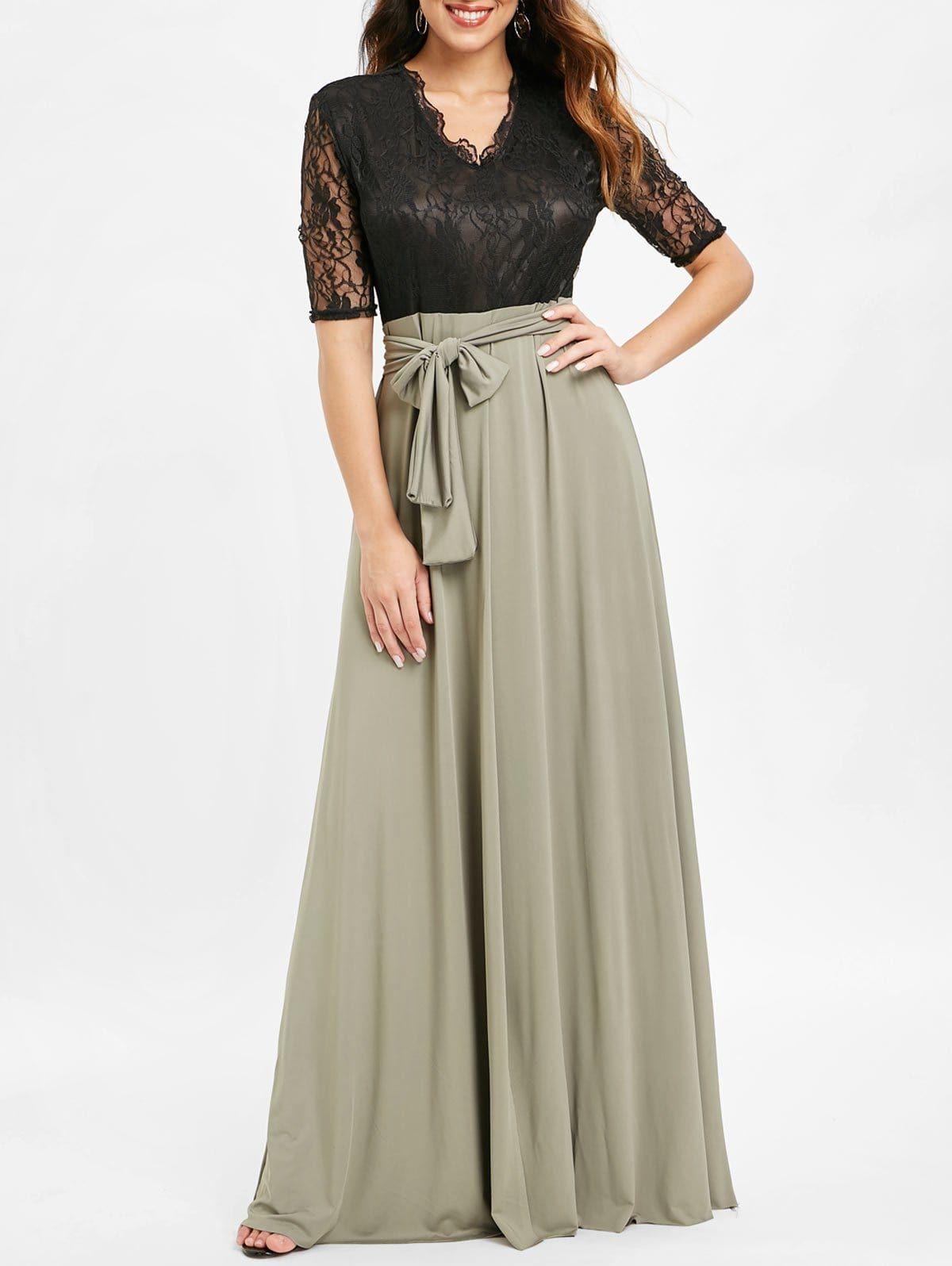 Lace Insert High Split Maxi Dress Split Maxi Dress Maxi Dress Dresses [ 1596 x 1200 Pixel ]