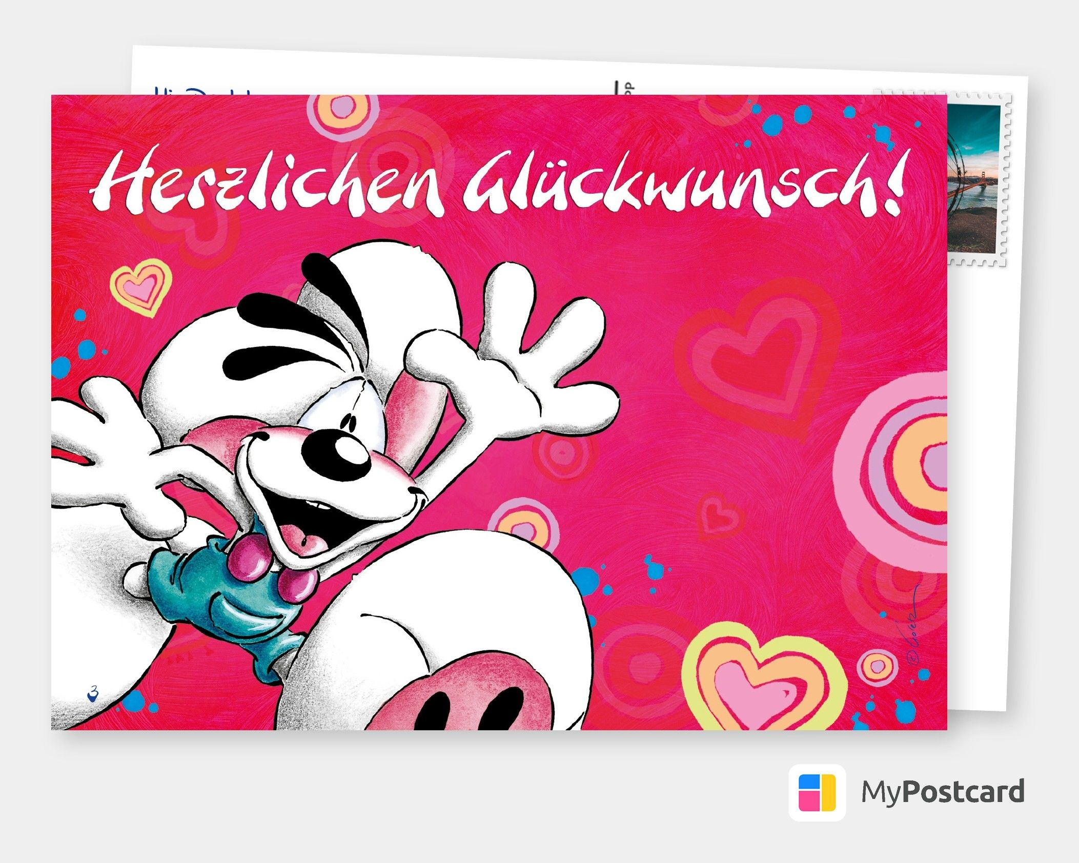Herzlichen Gluckwunsch Comic Cartoons Echte Postkarten