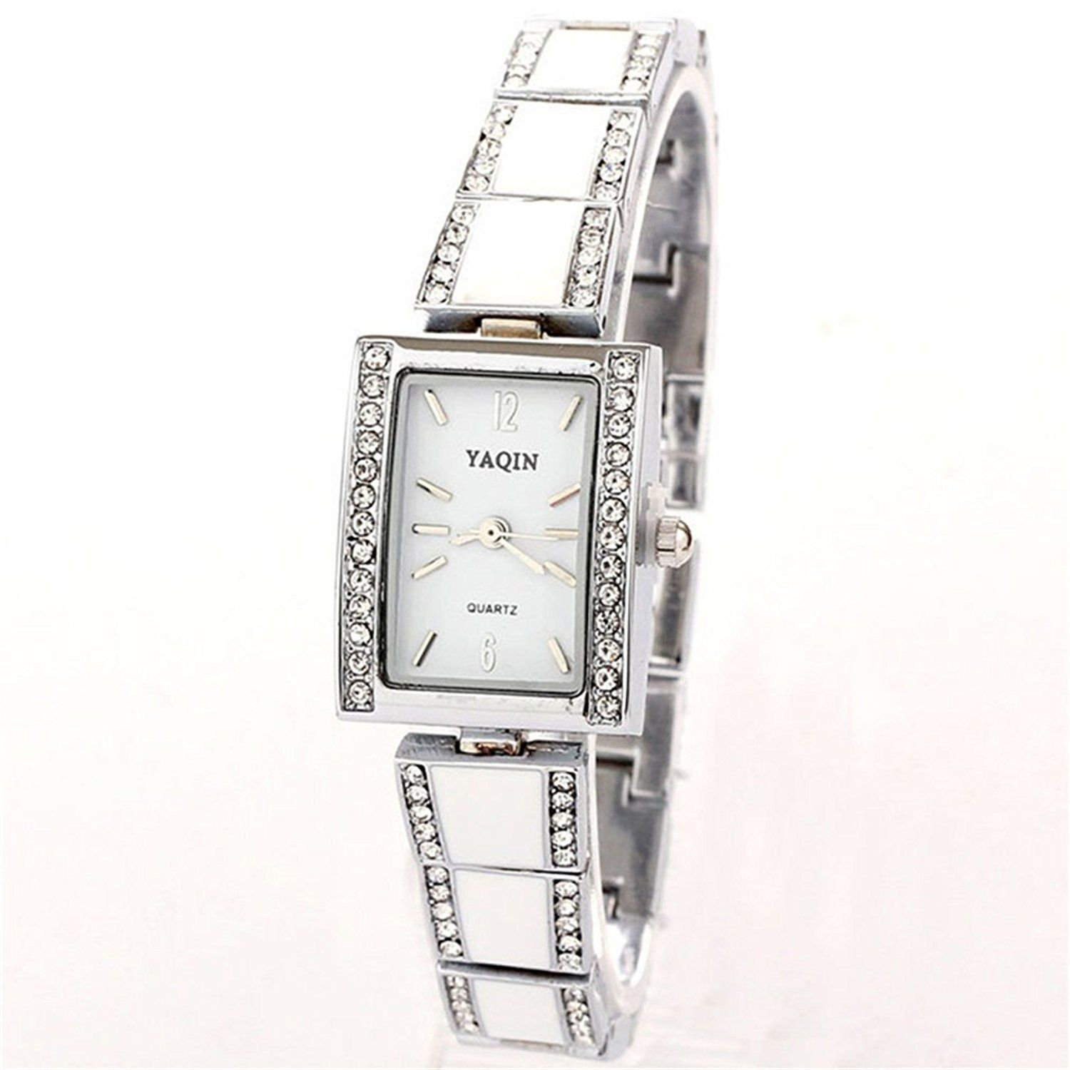 BUYEONLINE Women's Fashion Wrist China Rhinestone Casual Watch White -- Trust me, this is great! Click the image.