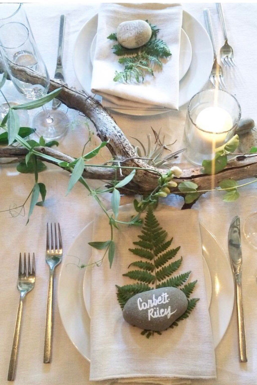 Enchanted Woodland Table Decor Place Settings with Natural Elements in Your Choice of Wood & Stone
