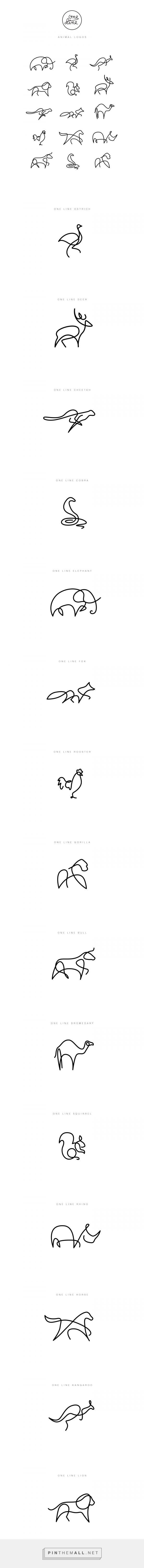 One Line Drawings One Line Animals Animal Logo Tattoos