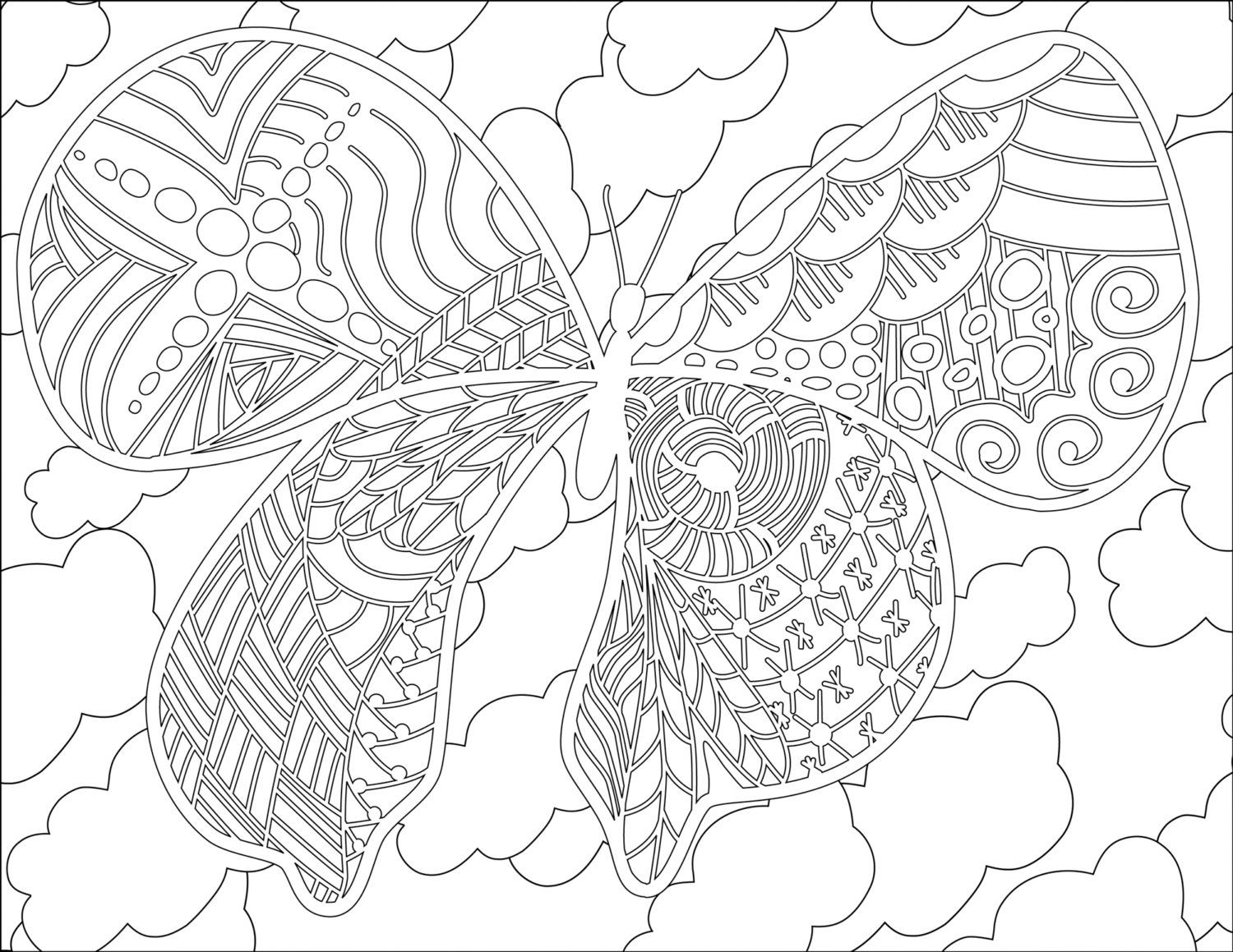 Adult Coloring Pages Doodles pages Mariposas colorear