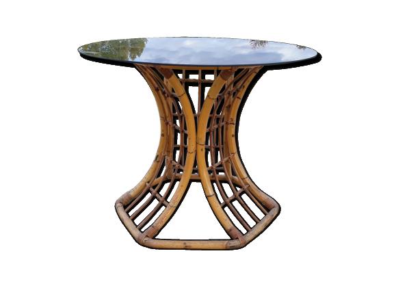 2019 vintage Table manger à ronde salle en en rotin de CQrxthsd