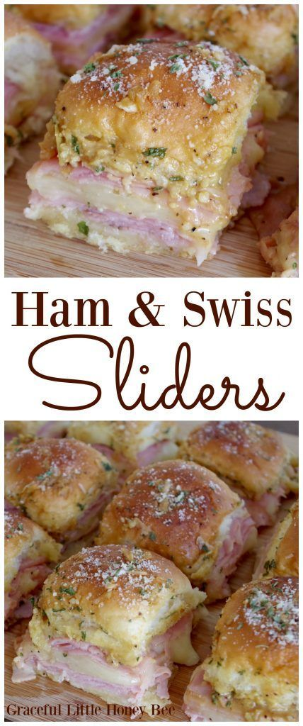 Try serving these delicious Ham and Swiss Sliders at your next party. They're sure to be a hit! Visit gracefullittlehoneybee.com for the recipe. #fingerfoodpartyappetizers