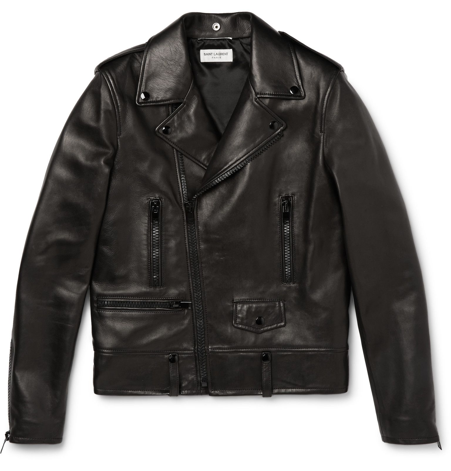 With a design as iconic as the biker jacket, subtle details make all the difference. This slim-fit leather version by Saint Laurent eschews the expected gleaming silver hardware for tonal zip and snap fastenings - the result is sleek and contemporary. Wear yours with a striped sweater and trim trousers at the weekend.