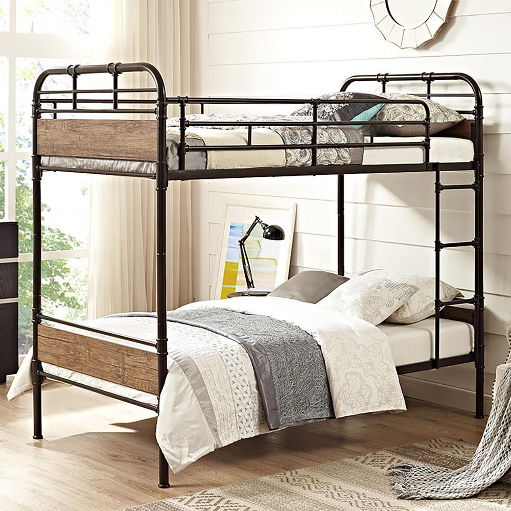 Walker Edison Furniture Company Urban Industrial Twin Over Twin Metal Wood Bunk Bed Black Hdtotmpbl Twin Bunk Beds Bunk Beds Bunk Bed Designs