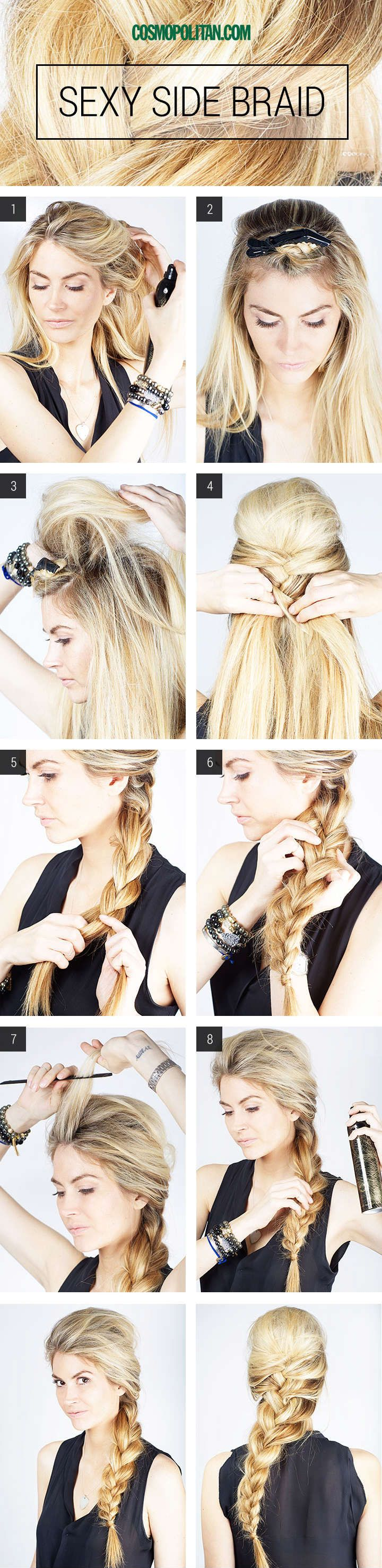 Diy sexy side braid tutorial hair styles white girls pinterest