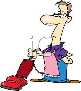 Clip Art Image A Man Wearing An Apron Pushing A Vacuum Cleaner Royalty Free Clipart Free Clipart Images Art