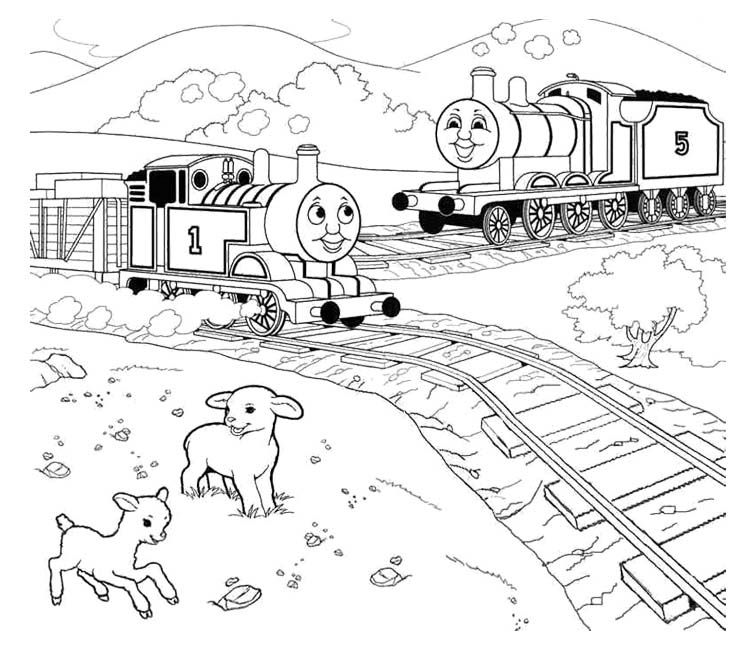 Thomas And Friends Two Sheep Coloring Page   Thomas Coloring Page ...