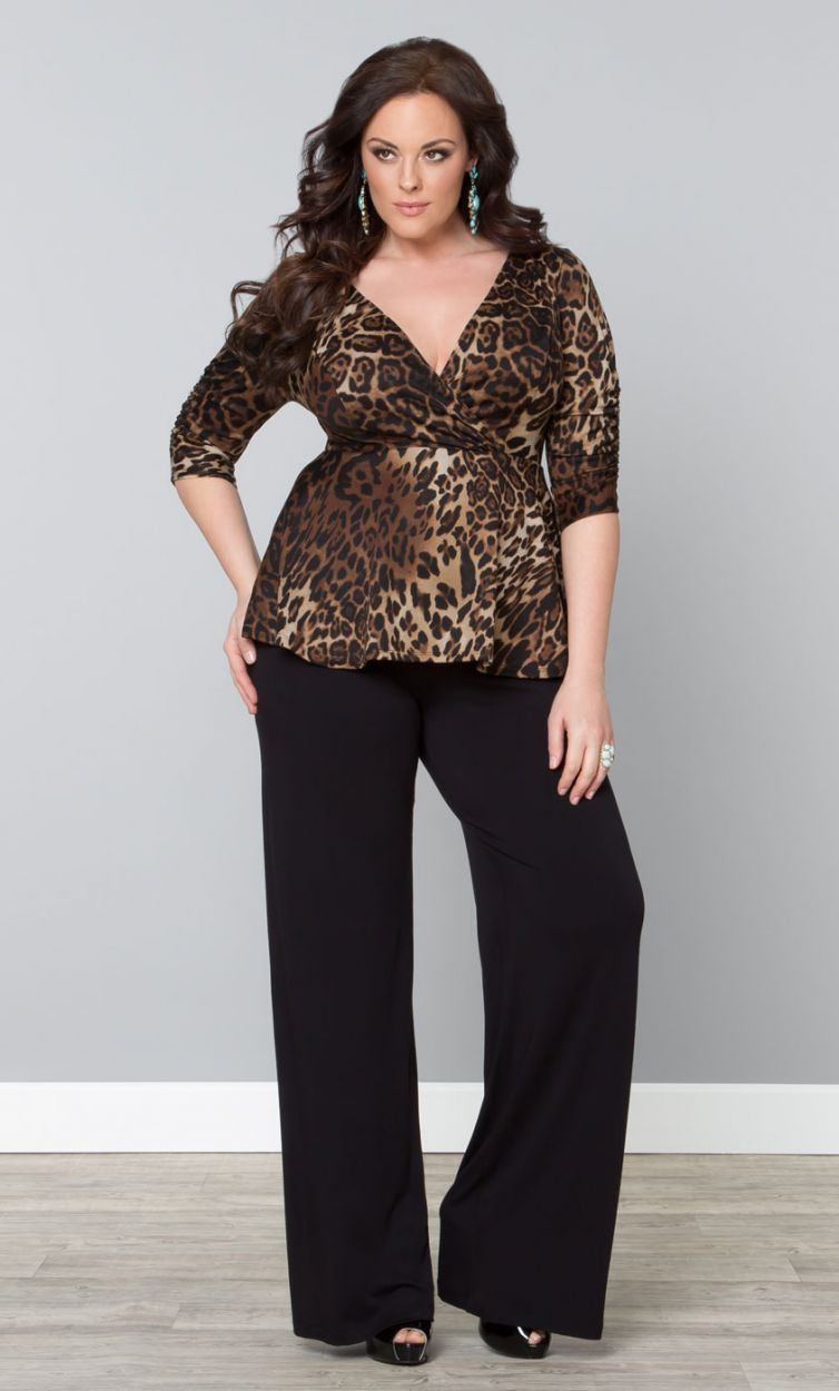 Plus Size Knot Front Top Palazzo Pants Palazzo And Black