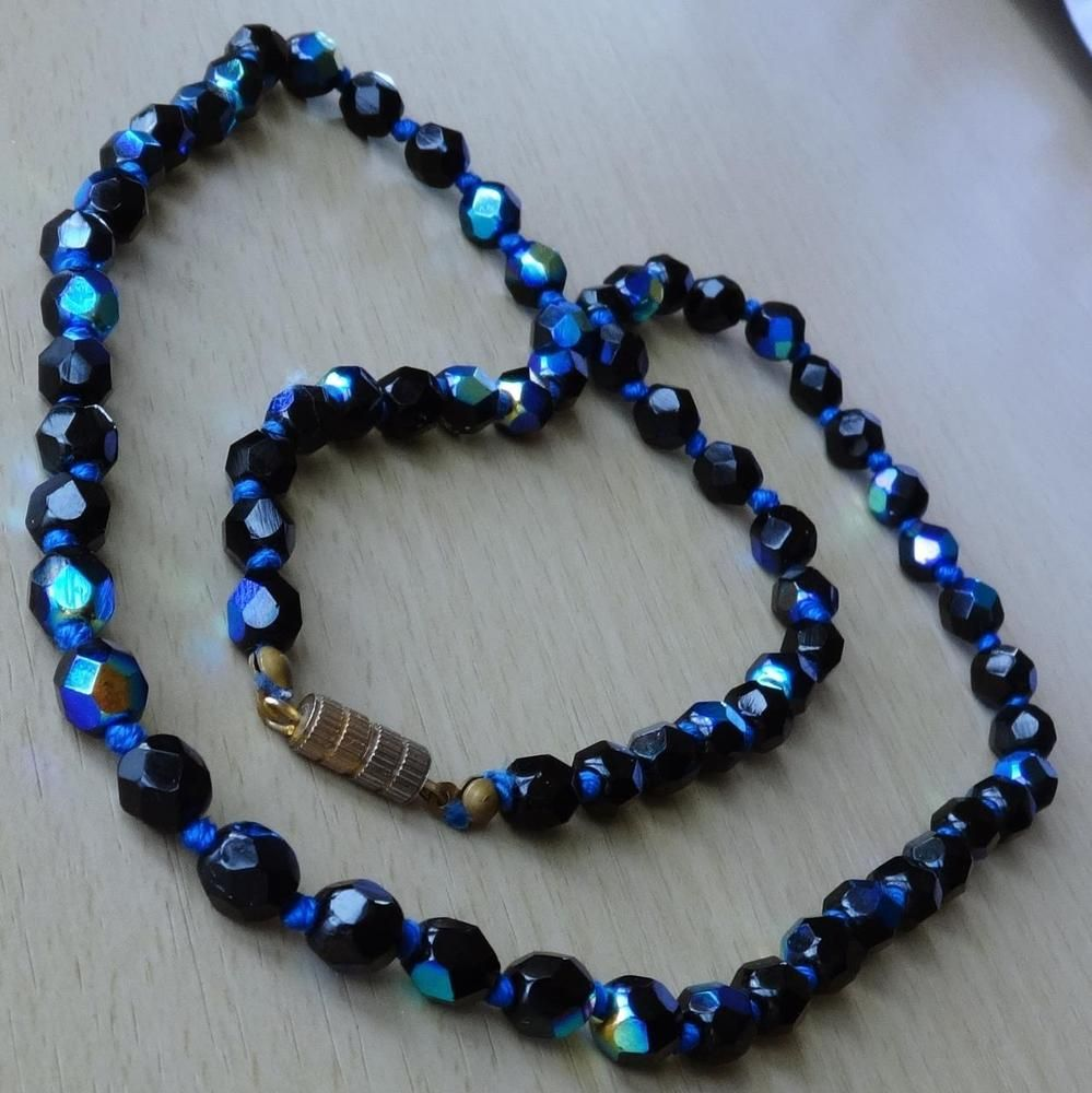 Vintage Polychrome Faceted Black Glass Bead Necklace