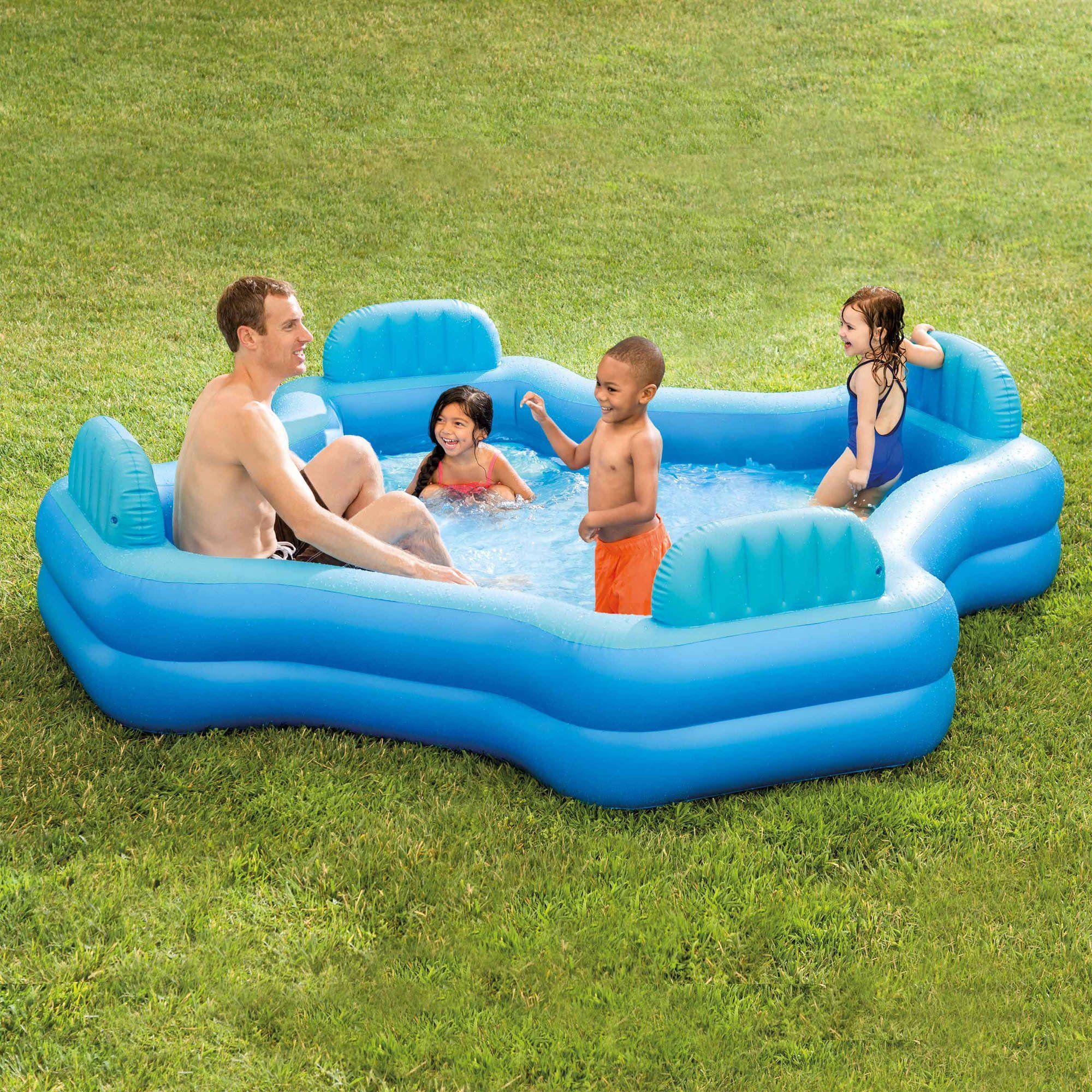 Intex Inflatable Swim Center Family Lounge Pool 105 X 105 X 26 Walmart Com Family Lounge Pool Kiddie Pool Pool Lounge