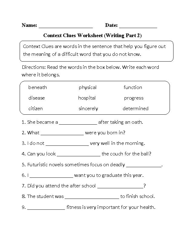 Context Clues Exercise
