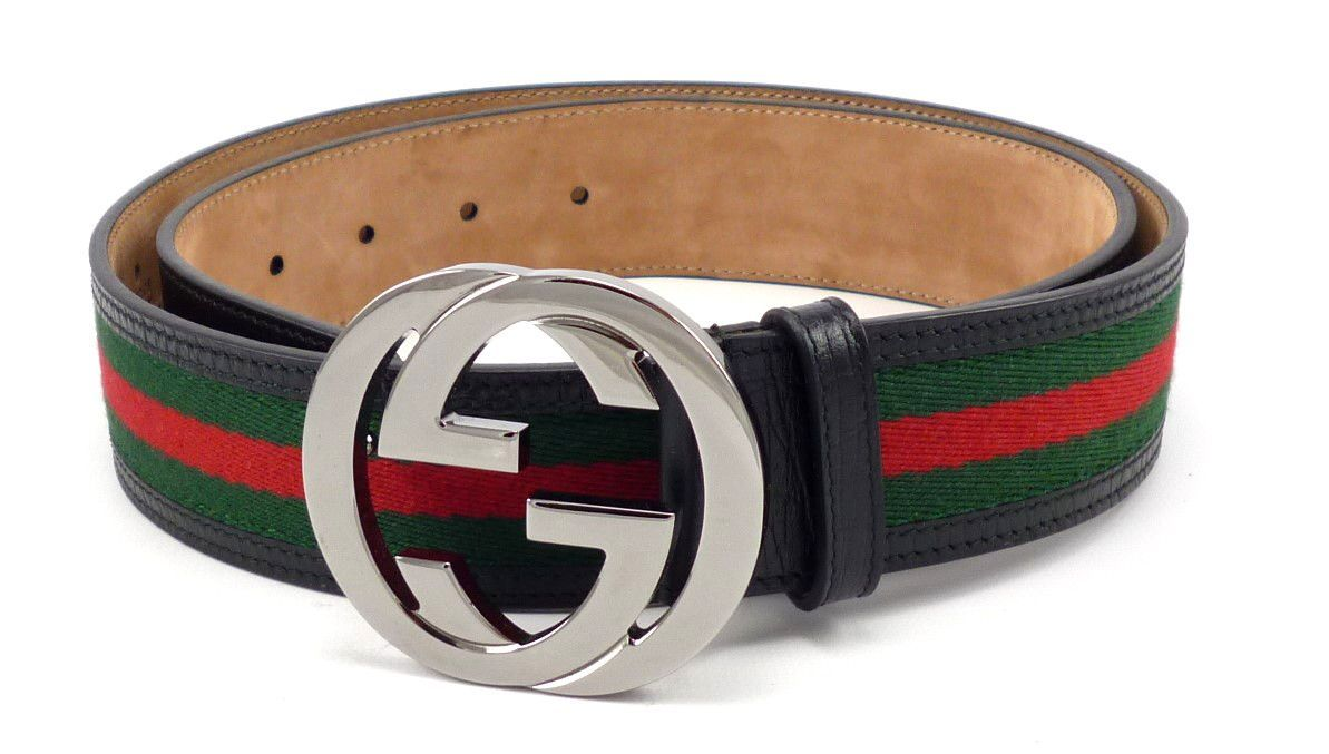 c71b26f6824 Gucci Mens Belt Size 38 95 Interlocking G Buckle Web Canvas Strap 114984  Green Red Blk