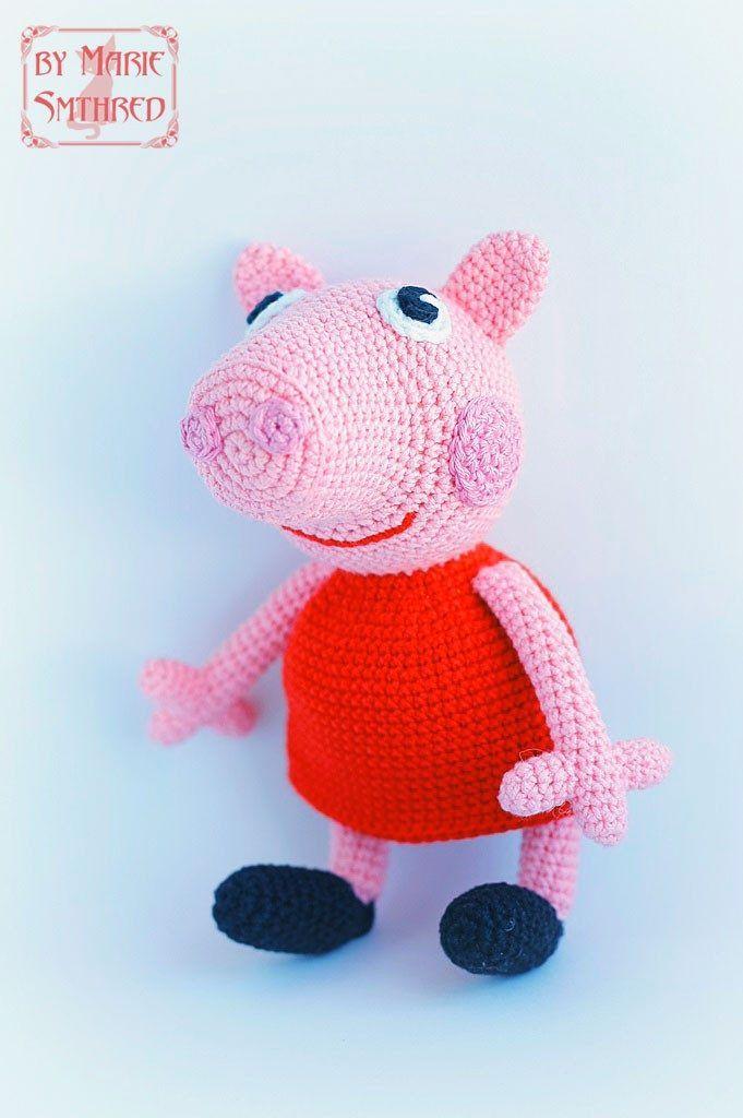вязаная игрушка свинка пеппа крючком схема описание пеппа свинка