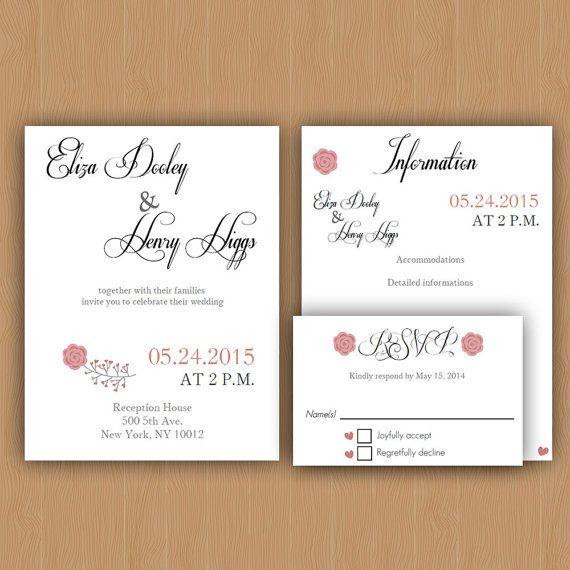 Printable Wedding Invitation Template Wedding Invitation, RSVP - invitation information template
