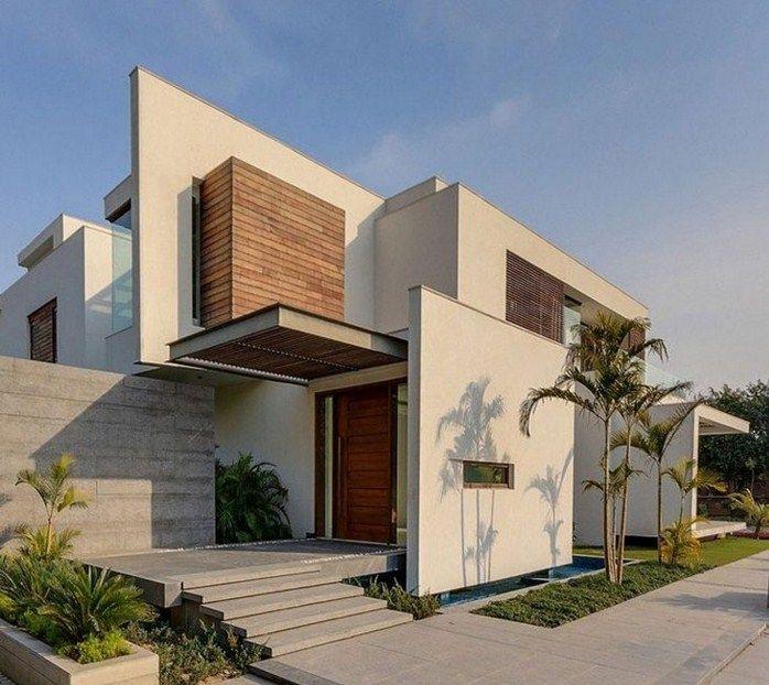 Fachadas de casas modernas con hall fachadas pinterest - Casas con porche ...