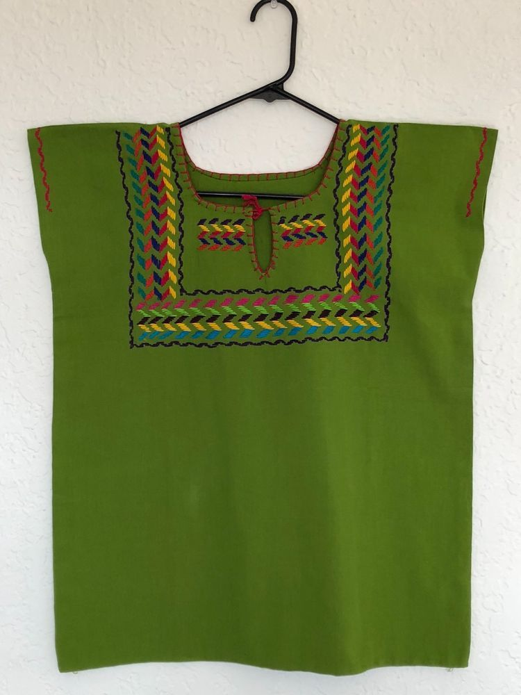 6ba177df1dfb9 Authentic Handmade Embroidered Ladies Mexican Blouse from Chiapas (Green)   Handmade  Blouse  Casual  handmade  embroidery  mexico  boho  style   fashion ...