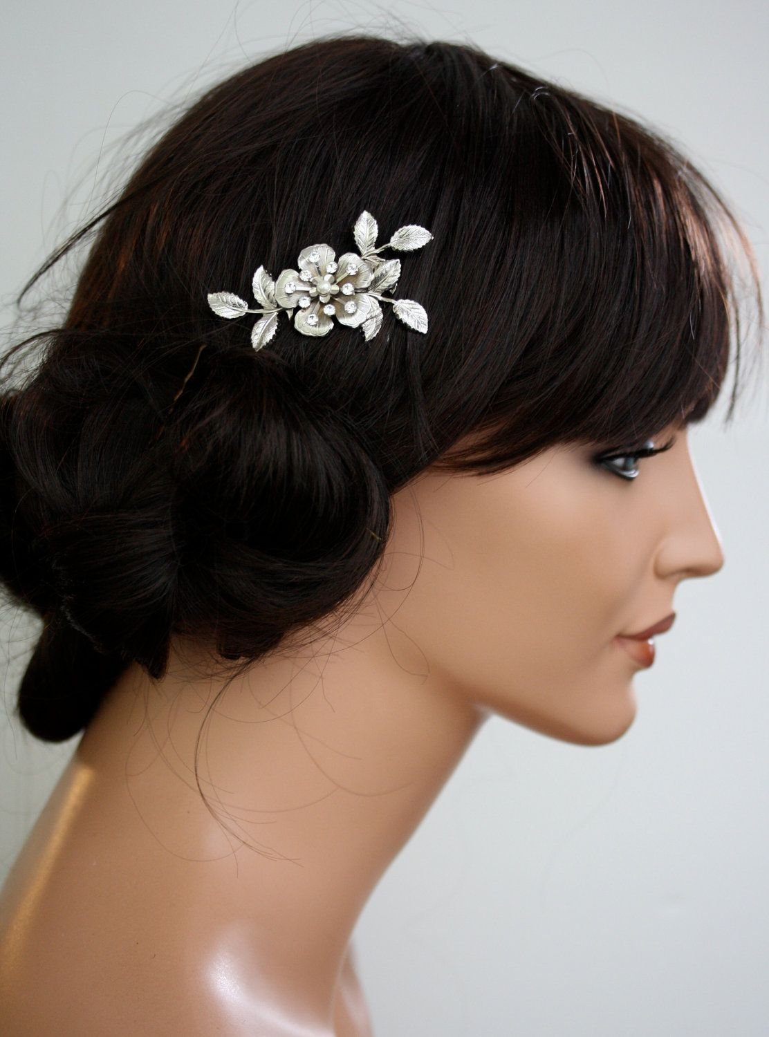 small bridal hair comb flower and leaf comb silver hair clip