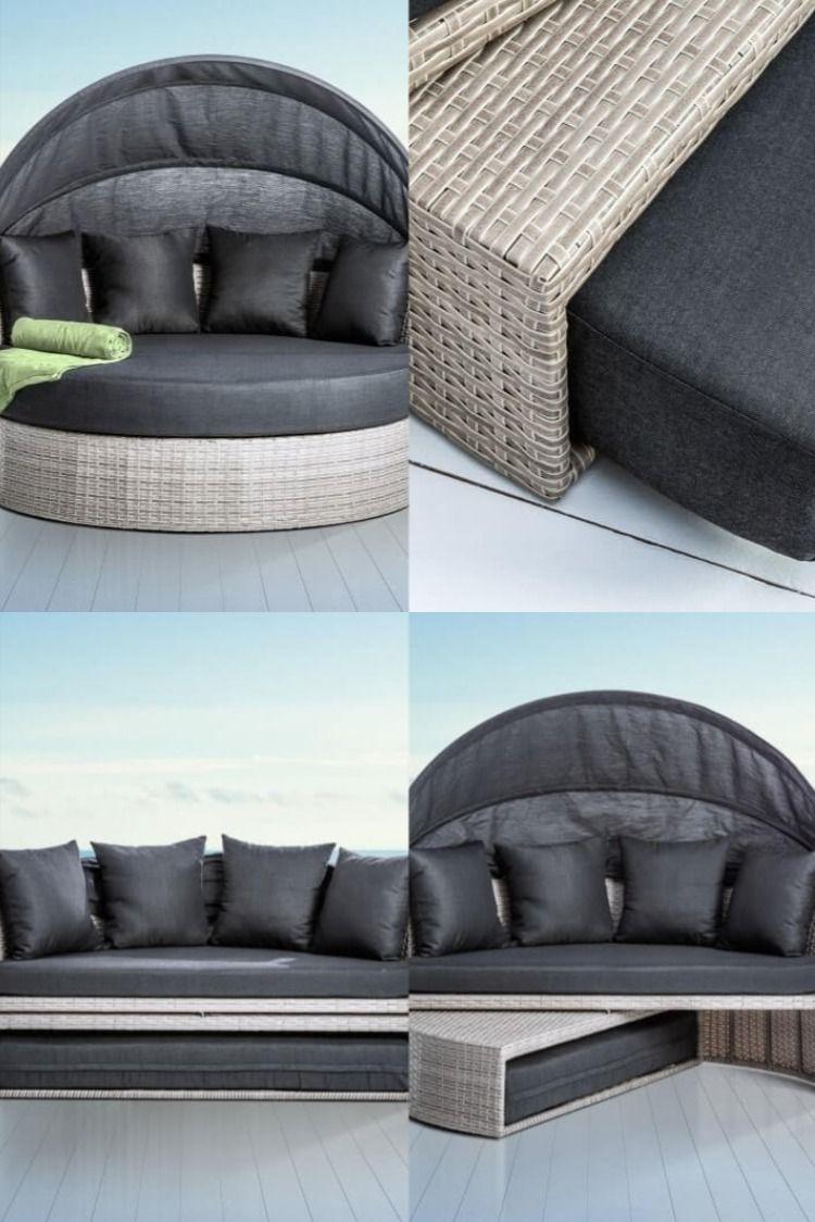 Canape Lit Gris Taupe Romeo Design Exterieur Terrasse En 2020 Meubles De Jardin Design Canape Taupe Canape Lit