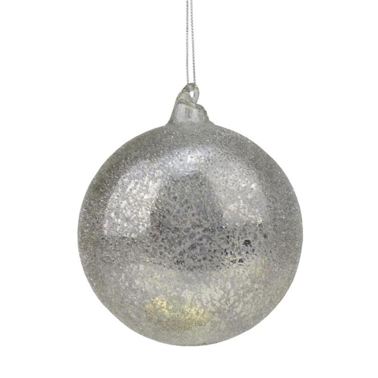"Mercury Glass Decorative Balls 45"" Winter Light Gunmetal Gray Iced Beaded Mercury Glass Ball"