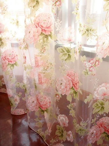 2 Pcs Charming Country Style Pink Flower Sheer Voile Curtain Panel Drape