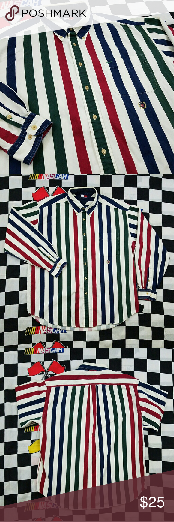 19126dfe1 Vtg 90s Tommy Hilfiger Mens Shirt XL Button Front Vintage Tommy Hilfiger  Striped color block multi