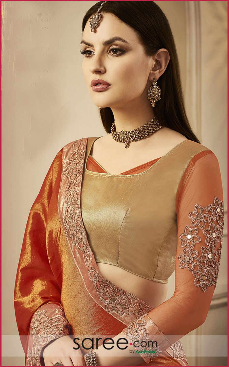Golden saree blouse design golden square neckline blouse  designer blouses ideas