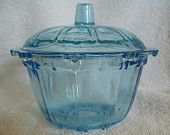Blue KIG Indonesia Glass Covered Candy Bowl