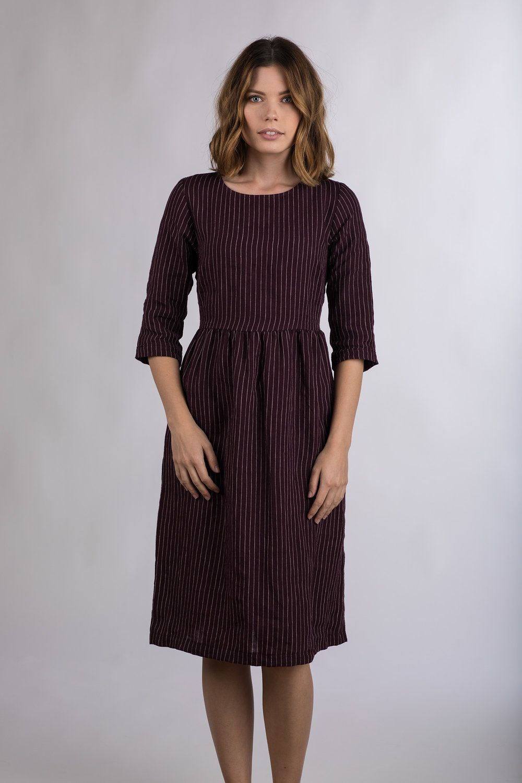 2f8dd9e00a PRE-ORDER for MODEL NO.19 THISTLE FLOWER LINEN MIDI DRESS — Pyne   Smith  Clothiers