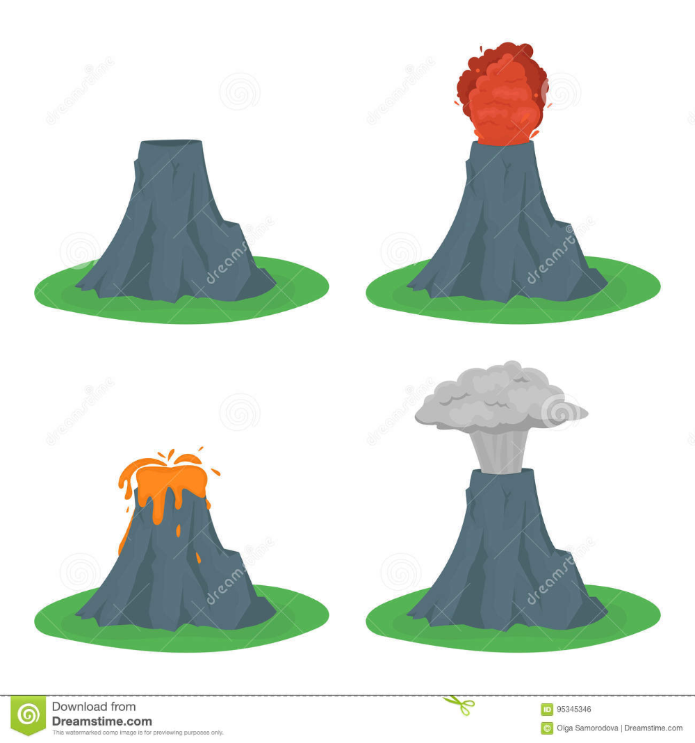 Illustration About Cartoon Color Volcano Erupting Set Different Stages Volcanic Mountain Flat Style Design Vector Ill Vector Illustration Illustration Cartoon