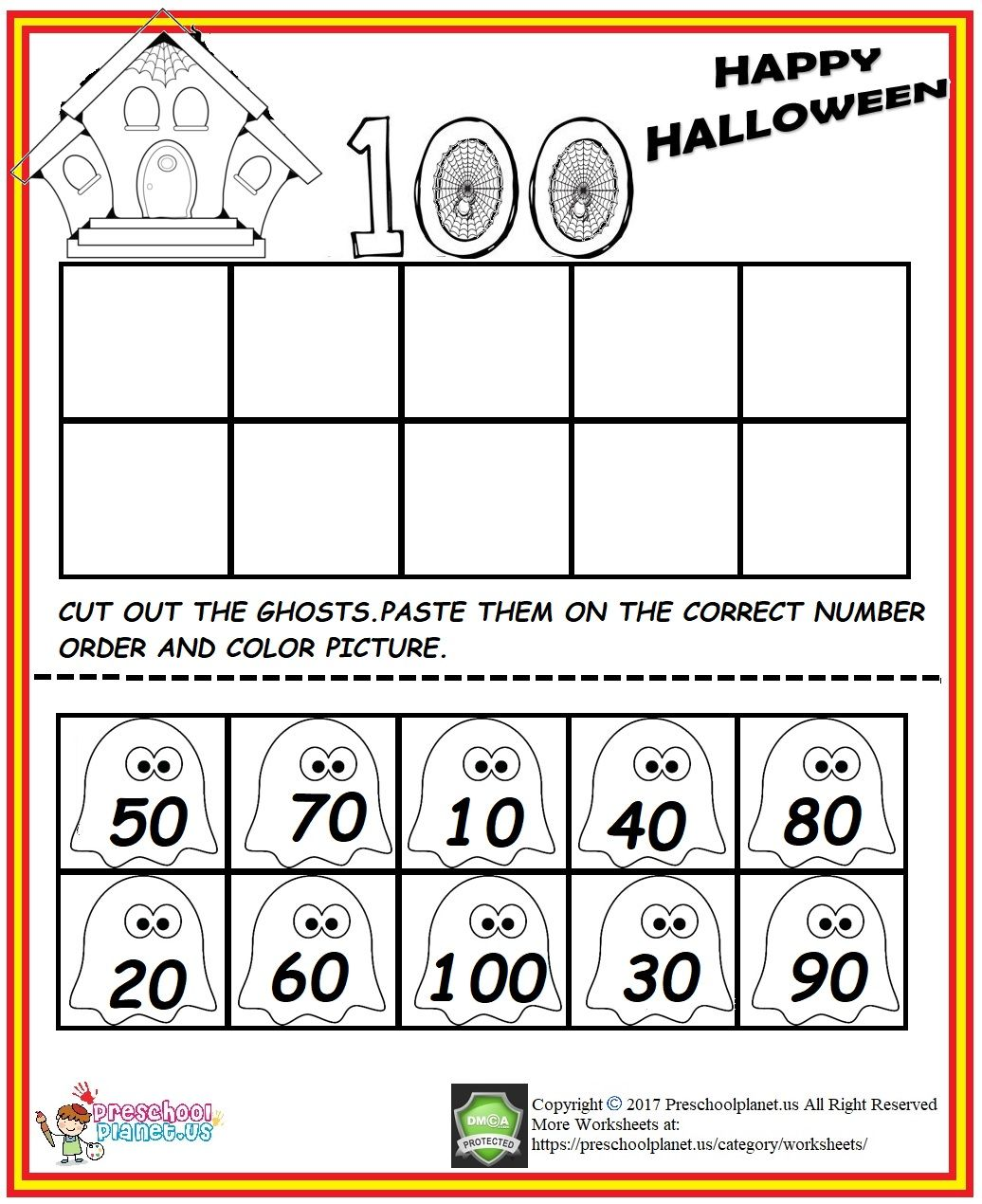 Halloween Number Order Worksheet