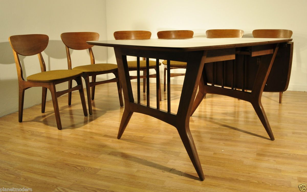 Danish Modern 1960s Garrison Furniture Dining Room Table W 6 Chair