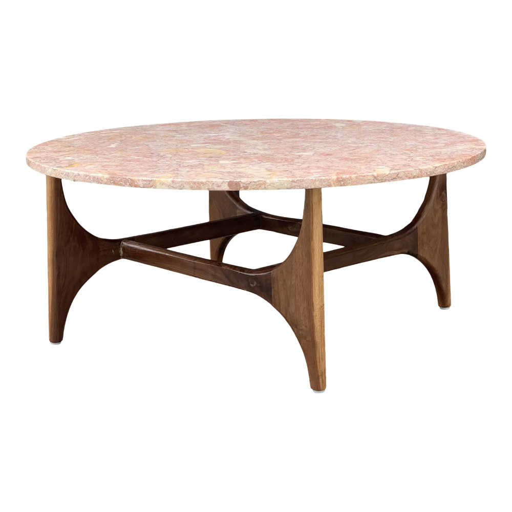 Rose Marble Top With Walnut Base Coffee Table Chairish Coffee Table Stylish Coffee Table Raw Wood Furniture [ 1000 x 1000 Pixel ]