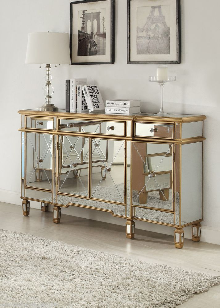 Hollywood Regency Mirrored Console Cabinet Dresser Table Bedroom Furniture Glam Powell Modern