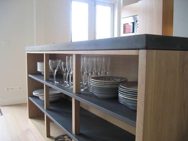 Open Kast Met Aanrechtblad En Planken Van Antracietkleurig Beton Nbsp Keuken Keuken Kast Open Kast