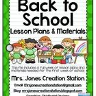 Back to School Lesson Plans and Materials:  This file includes a full week of lesson plans and materials needed for the first week of school.  Incl...