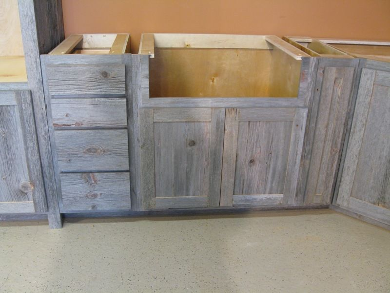 A Weathered Gray Barnwood Kitchen Rustic Wood Cabinets
