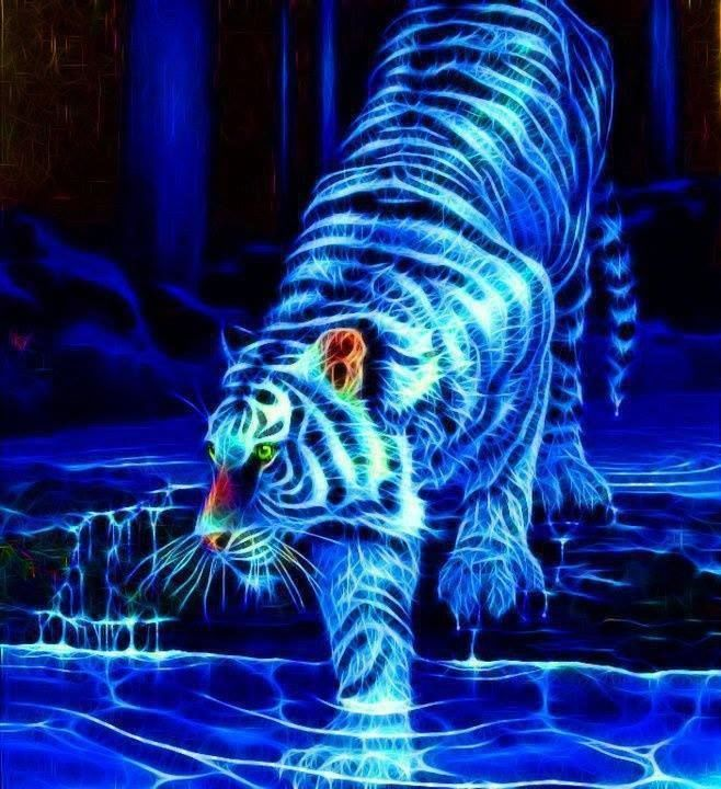 LoveThisPic Offers Neon Tiger Art Pictures, Photos