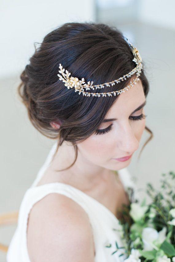 Bridal Hair Jewelry, Gold Crystal Hair Chain, crystal tiara, Bridal Chain Headpiece, crystal wedding headpiece, bridal hair accessories #hairchains
