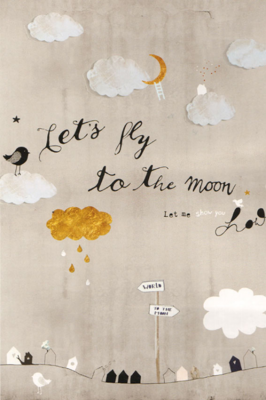 Let's Fly To the Moon Wandposter OZ 3156 - Onszelf sweet baby