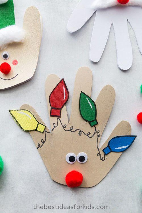 christmas handprint cards  christmas handprint crafts